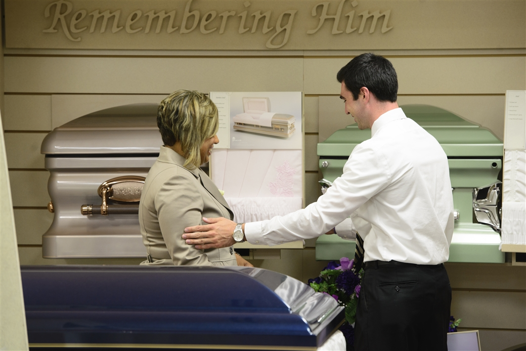 students with casket