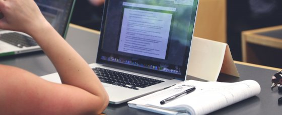 Image of student on laptop