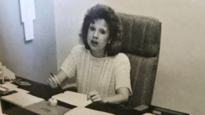Teresa Dutko at her office desk, circa early 1990's